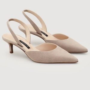 NEW Lafayette 148 Libbet Suede Nude Pink Slingback